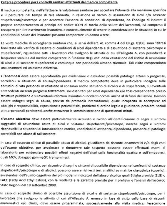 Criteri e procedure sanitarie medico competente
